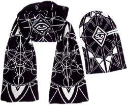 O inverno quente Algodão tricotado lenço Jacquard Hat Definido