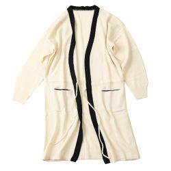 Real de estilo largo 100% Cashmere 7gg tejidas Cardigan para niñas
