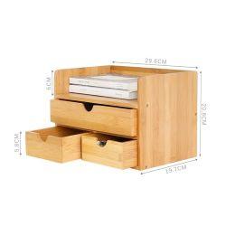 Бамбук дерева Office Desk данные органайзера для настольных ПК в контейнер для хранения с выдвижной ящик