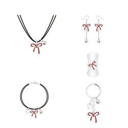 標準的なデザイン不朽の赤い弓銀の真珠の宝石類セット