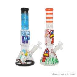 "Rick e Morty Water Pipe 12 ""UV noite luminosa vidro Copo para tubo de fumo Hookah"