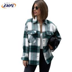 L'hiver Mesdames épais manteau à manches longues Veste Plaid tourner vers le bas de femmes col chemise coton surdimensionné chaude veste chemisier décontracté