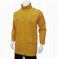 Vêtements de protection de la sécurité des hommes PU régulier de la veste de pluie pour le travail