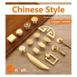 Maniglia d'ottone di rame rotonda della mobilia di tiro dell'armadietto dell'oro del perno del portello interno della finestra