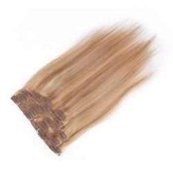 100%-iger Haarclip mit Doppeltem Fuß für den menschlichen Haaransatz in Extensions Mit Vollem Kopf weich Seidig Gerade