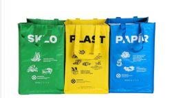 セットの多彩で青い黄色緑の韓国のカスタム便器のリサイクルされたPPによって編まれるごみ袋ごとの3PCS