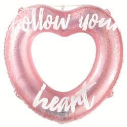 لون قرنفل تلألؤ شكّل قلب قابل للنفخ سباحة حل بركة عوامة