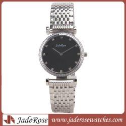 La moda Dama Cuarzo Wacthes de acero, Plata diamante de la banda de reloj de pulsera