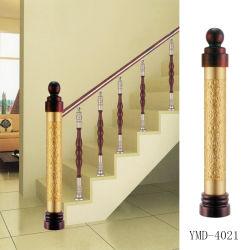 Aço inoxidável + coluna de madeira do Guardrail da escadaria