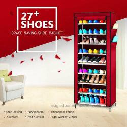 9 prateleiras de sapata de camada de tecido de lona para armazenagem de paletes Sapata Sapatas da rampa de fecho do Organizador Sapateira Organizador permanente de mobiliário (FS-02A)