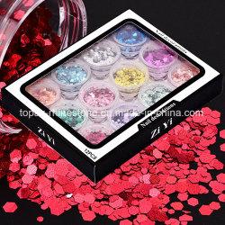 Láser de escamas de plata de coloridas decoraciones nail art Paillettes Mezcla de Estrellas de la mariposa Diseño de uñas Heart-Shaped Glitter lentejuelas (ND02