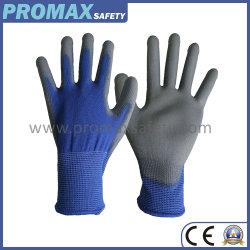 Revêtement de paume PU Polyester bleu haut Mettre en place des gants de protection avec certificat CE