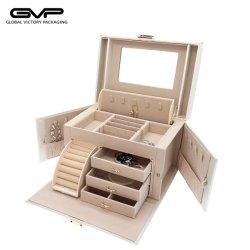 [سوبيور] رفاهيّة كبير فراغ بيضاء [بو] جلد مجوهرات تخزين صندوق خشبيّ مع يتعدّد طبقة مع مرآة