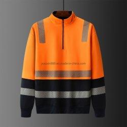 Мужские футболки пота Hivis оранжевого цвета с светоотражательная лента