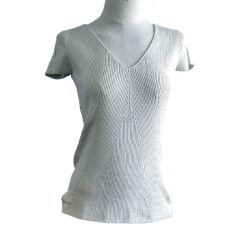 Servicio de OEM de acanalado de color puro estilo Ladies Jersey de punto la mujer de manga corta de tejer jersey de cuello V-