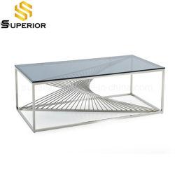 Eindeutige Art-Glaskaffee-Tee-Tisch mit silberner Stahlunterseite