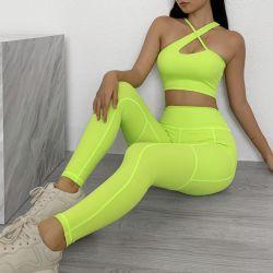 Женщин была обнажена мраморная экипировка 2 материал для занятий йогой Jumpsuit тренировки спортзал Leggings с мягким спортивный бюстгальтер,