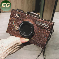 Eb1409 Women's PU L'appareil photo instantané en forme de conception de Sacs épaule Téléphone occasionnel Wallet sac à main d'embrayage de la chaîne Lady Sac Crossbody
