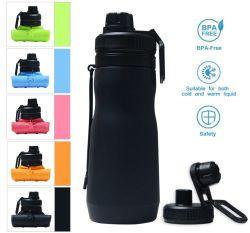 Più nuovi BPA liberano la bottiglia di acqua pieghevole personalizzata portatile del silicone molle di marchio di corsa ecologica