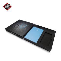 Papier rigide carré noir de luxe personnalisé les emballages en carton seul Cufflink boîte cadeau