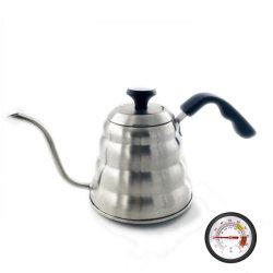 Koffiepot met thermometer voor exacte temperatuur Gooseneck Pour over Coffee Maker voor Fornuis Top, 304 roestvrij staal 1,2 liter