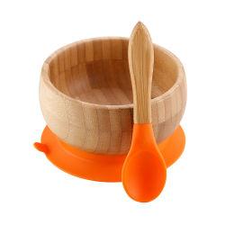 Les enfants d'aliments Pack cadeau Baby Toddler Infant Feeding bols pointe douce cuillère Silicone Configurez BPA Séjour gratuit mis en bambou naturel bol d'aspiration