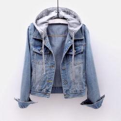 Weinlese-Denim-Umhüllungen-Frauen-Herbst-Mantel zerrissene mit Kapuze Oberbekleidung beschichtet Windbreaker-grundlegender Freund-weibliche Jeans-Umhüllung plus Größe