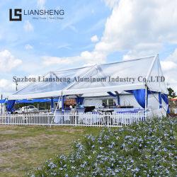 安く明確なスパンの構造アルミニウムフレームの結婚披露宴の屋外のイベントのガラスによって絶縁される白く贅沢なテント