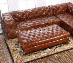Meubles de salle de séjour de loisirs moderne forme en U 7 places canapé en cuir pleine d'angle de coupe définie