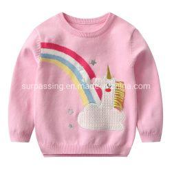 Children's Apparel Unicorn Rainbow Round Collar Clothing Garment セーター製品 赤ん坊女の子高品質の赤ん坊のセーター子供の方法子供の衣服 ベビーウェア