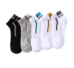 Mens branca de malha simples corte baixo de algodão meias de funcionamento do tornozelo
