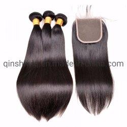 Tissage de cheveux droites brésilien avec dentelle 4X4 de fermeture