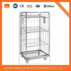 Plegado de malla metálica jaula antivuelco / Logística Cesta Roll Container