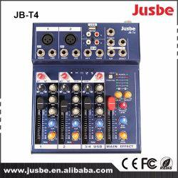 Jusbe Jb-T4 de 4 canales de audio profesional Consola de mezcla Mezclador con USB MP3 Music DJ Play precio barato