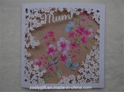 Papel artístico de qualidade Cartões Presente saudação com flores esculpidas Janela para o Dia da Mãe