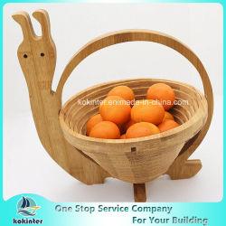 아마존 최신 인기 상품 형성되는 Apple를 가진 접을 수 있는 음식 안전한 나무로 되는 대나무 과일 바구니