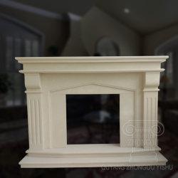 Sculpté à la main cheminée en marbre crème Mantel personnalisé