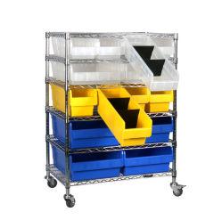 Fil durables avec chariot bacs d'étagères Unité utilisée dans l'entrepôt