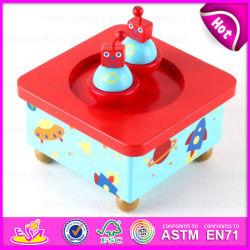 Boîte de mécanisme de carrousel coloré ballerine danse musique en bois jouet W07b025