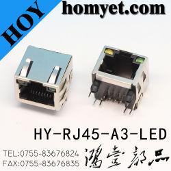 Professional Fabricant Boîtier métallique RJ45 RJ45 Prise de PCB avec LED (HY-RJ45-A3-LED)