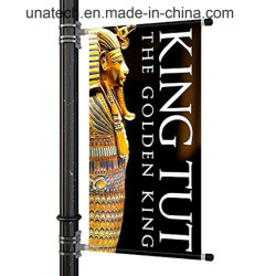 Poste de luz de la calle con resorte soporte de fijación de la banner de publicidad