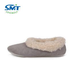 O solado de couro camurça multicor lã de ovelha interior chinelos Quarto calçados de Inverno