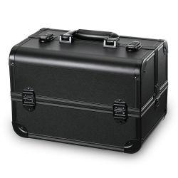 Профессиональный портативный макияж поезд дело художника запираемый ящик для хранения органайзера косметического слоя алюминия с 4 лотками для бумаги черного цвета