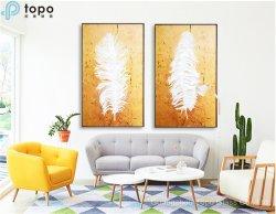 3D White Feather Art pinturas de vidro (MR-YB6-2041)