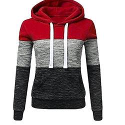 Пружина осенью моды слабо женщин Пэтчворк Hoodies повседневный Sweatshirt