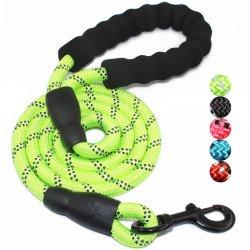 Résistant et durable de haute qualité et d'épaisseur de la corde de nylon ronde de couleur vert réfléchissant Chien de compagnie chien en laisse avec poignée rembourrée confortable