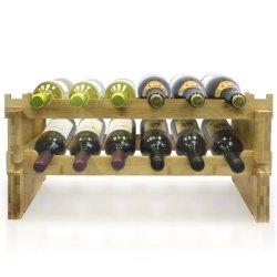 2 níveis de vinho de bambu estilo clássico de rack de suporte para garrafas de vinho- para Bar Adega Armário Basementm despensa etc detém 12 Garrafas BH-4204