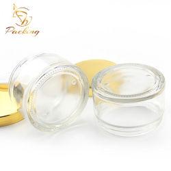 Kosmetische Kruik van de Room van het Glas van de Zorg van de Huid van de hoogste Kwaliteit de Duidelijke 50g met Aluminium Gouden GLB voor de Room van het Gezicht