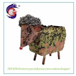 Animal lindo impresión personalizada de oveja artesanal de la sembradora de Metal Maceta