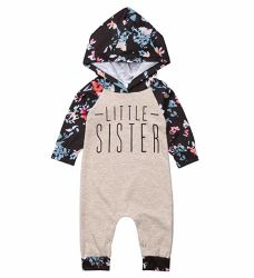 Soeur bébé fille Match Vêtements Floral floral à manchon long BODY Sweat-shirt à capuche Top Kids Jumpsuit Romper